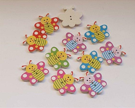 Botão de Madeira Borboleta infantil estampada - 30mm x 27mm - *embalagem com 10 unidades*