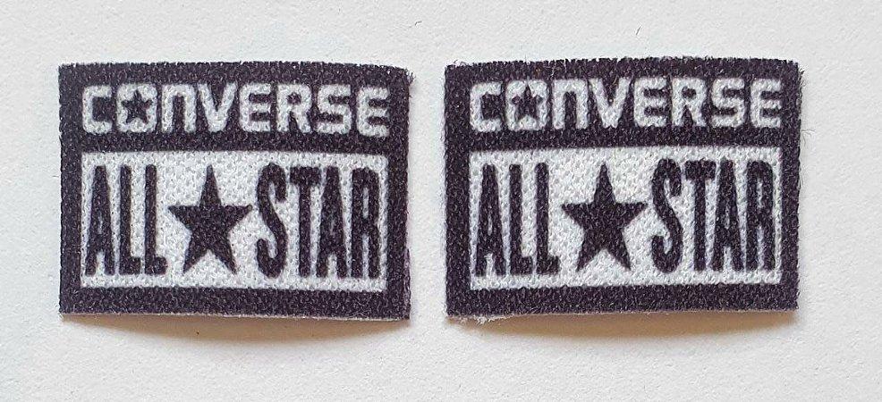 Emblema Termocolante All Star (Converse) Preto - Tamanho 20X15 mm - (Venda por par)