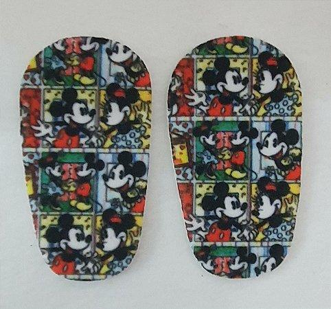 Palmilha de EVA forrada com estampa Mickey - Tamanhos 8cm, 9cm, 10cm, 11cm e 12cm