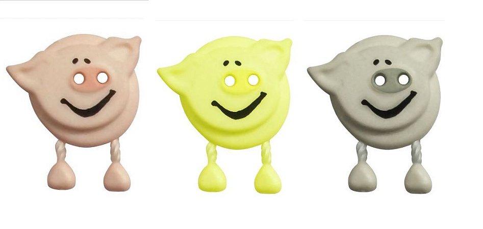 Botão Porquinho com Perna - 20 x 17mm - Cores: Amarelo Cinza e Salmão - Embalagem com 2 unidades da mesma cor