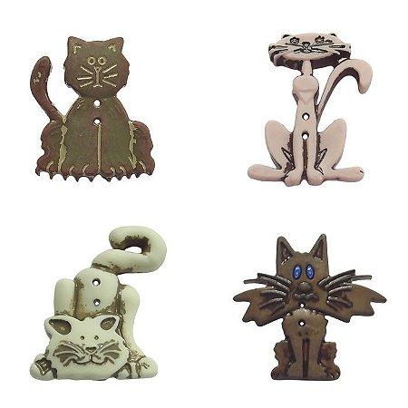Botão 2 furos gatos - Kit com 4 unidades - tamanhos na descrição -