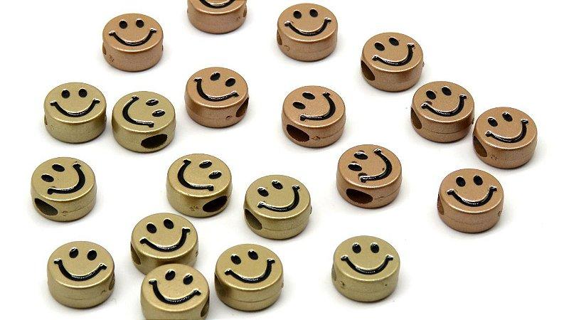 Passante, entremeio SMILE - ABS - 11mm diâmetro, 5mm altura - Furo largo - Pacote com 10 unidades