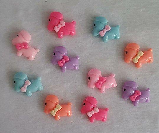 Aplicação (Patch) em resina Cachorro com Lacinho- 20 x 22mm - Cores: Pink, Rosa, Lilás, Salmão e Azul - * embalagem com 2 unidades da cor escolhida*