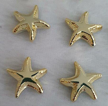 Aplicação ABS Estrela do Mar Dourada - 16mm - *Embalagem com 6 unidades*