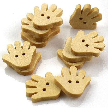 Botão de madeira MÃO com dois furos - 18 X 18mm - ***embalagem com 10 unidades ***