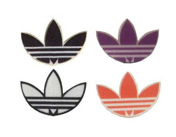 Emblema Termocolante ADIDAS- Tamanho 20 X 23  mm - (Venda por par) Branco, Preto, Lilás e Vermelho.