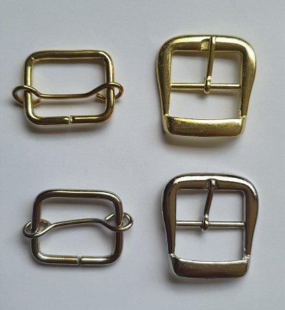 Kit Fivela + Fivela de ajuste - Aço inox - Cromada ou dourada - Tamanho 31mm x 22mm - Embalagem com 3 jogos (fivela + fivela de ajuste)