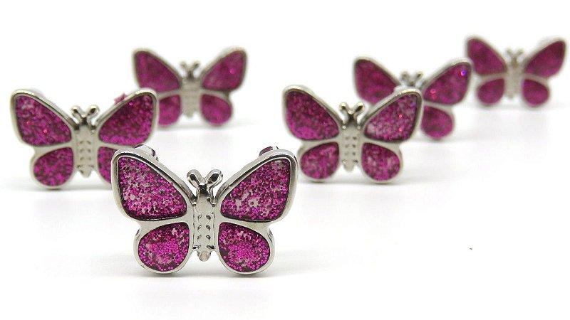 Passante de metal, Passa Fita ou cordão  - Borboleta com glitter Pink - 14x19mm - Embalagem com um par -