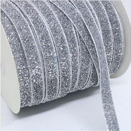 Fita Prateada (Glitter)- 10 mm - (Venda por Metro)