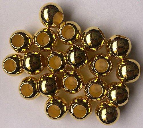 Bola  Dourada Furo Largo - Entremeio -  Passante  - Tamanhos: (08mm-Pacote com 50 bolas) (10mm-Pacote com 30 bolas) (12mm-Pacote com 20 bolas) (14mm-Pacote com 20 bolas)