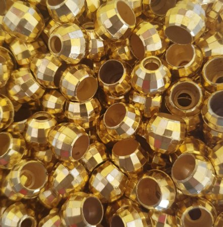 Entremeio Bola Vazada Sextavada - Bola Globinho Dourada - Tamanho 12 mm - Furo Largo - (Pacote com 12 unidades)