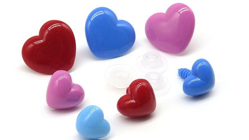 Coração 2,5 - Cores: Vermelho, Azul e Rosa Médio - medidas: 17 mm X 15 mm -  *Pacote com 3 unidades e Travas*