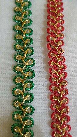 Passamanaria Verde  ou vermelha com dourado  - 12 mm - REF: 8776 - (Venda por metro)
