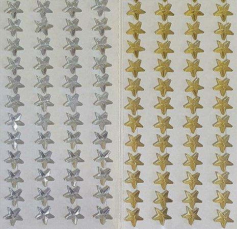 Sticker's - Autocolantes - Estrelinha  - 104 unidades - cores: dourado e prata