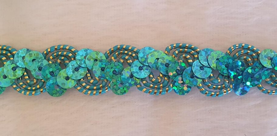 Passamanaria Rosa com paetês azul - 16 mm aprox.  - REF: 4507- (Venda por metro)