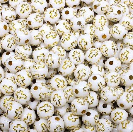 Bola branca com cruz dourada - 8mm -  Colorido tons pasteis - Embalagem com 30 gramas