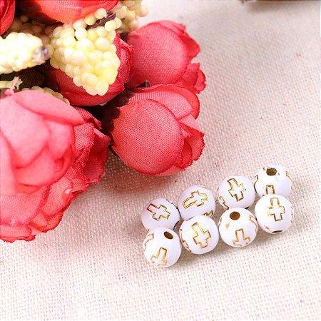 Miçanga - Bola branca com cruz dourada - 8mm -  Embalagem com 30 gramas