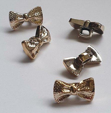 Botão laço gravata dourada com pé - 19 x 8mm -  Embalagem com 5 unidades