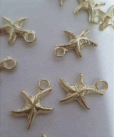 Pingente Estrela do Mar, de metal - Dourada - 15mm - Embalagem com 5 unidades