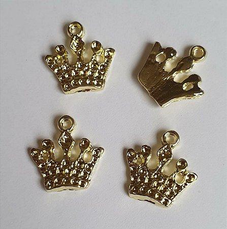 Pingente de metal dourado Coroa de cinco pontas  - 18 x 17mm - Embalagem com 5 unidades