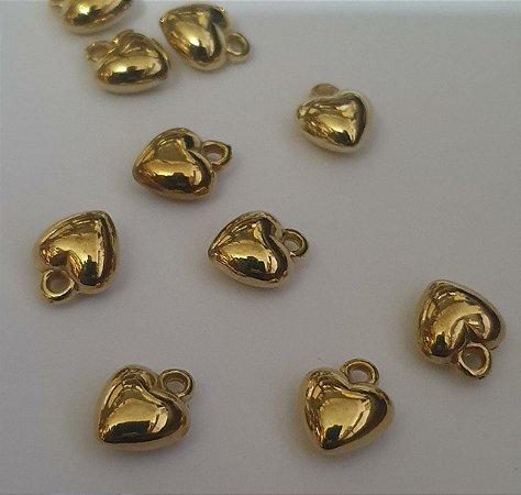 Pingente Coração Dourado em ABS - 12mm x 9mm -  *embalagem com 20 unidades*