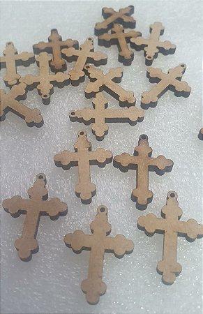 Pingente  Cruz de São Nicolau em MDF (corte a laser)  -  25 x 17mm - Embalagem com 5 unidades
