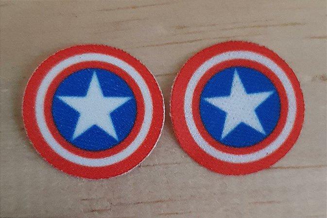 Emblema Termocolante Capitão América  -  Tamanho 23 mm - (Venda por par)