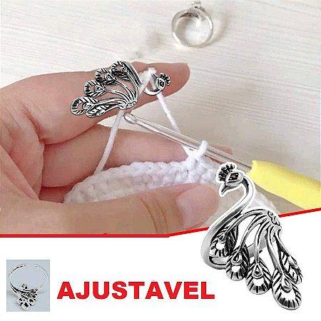 Dedal Anel Pavão com Cauda em leque (aberto)  - para Crochê e Tricô - venda Por Unidade