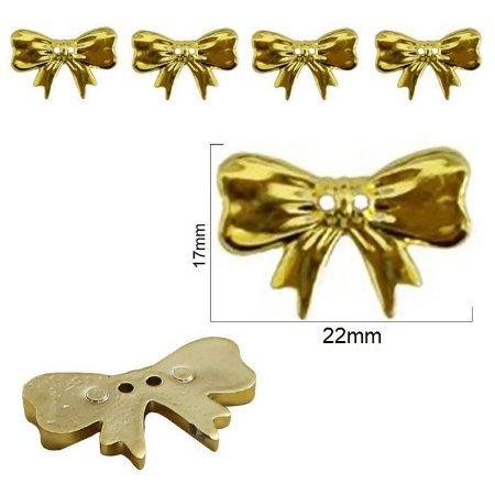 Botão laço, lacinho, metalizado- 17mmx 22mm  (Ref. 9303)- Cores: Prata, dourado E grafite  -  Embalagem com 3 unidades da mesma cor