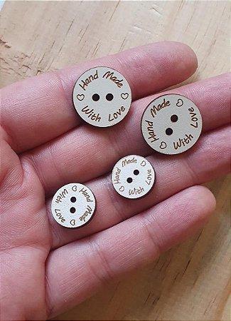 Botão de MDF Handmade - Tamanhos: 15mm, 20mm e 25mm