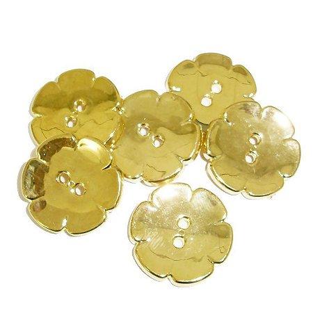 Botão ABS Dourado Flor - 5 tamanhos: 13mm, 16mm, 18mm, 21mm e 24mm - Embalagem com 6 unidades - ref. 9110