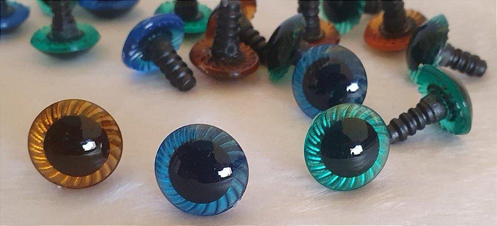 Olho Raiado - Colorido - tamanhos 13mm, 15mm e 18mm - cores: Fumê, Cristal, Verde e  Azul - *Pacote com 5 pares e Travas*