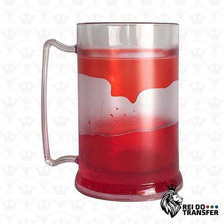 Caneca Chopp Acrílico 450 ml Transparente 1 un gel vermelho