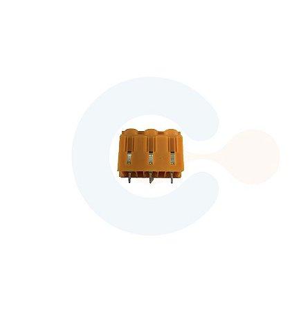 Conector Borne p/ PCI 7,62mm Vertical Parafuso 3 Vias Laranja