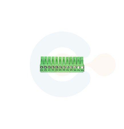 Conector Encaixe Fêmea p/ Cabo 3,5mm 90G Parafuso 12 vias Verde