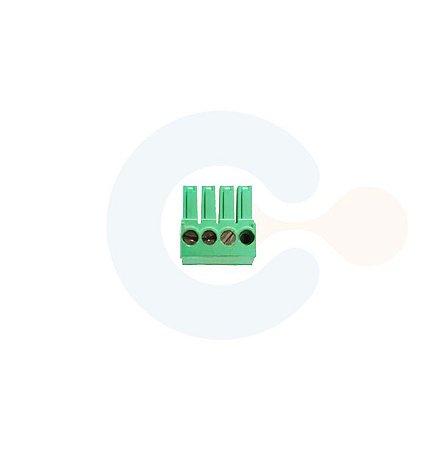 Conector Encaixe Fêmea p/ Cabo 3,5mm 90G Parafuso 4 vias Verde