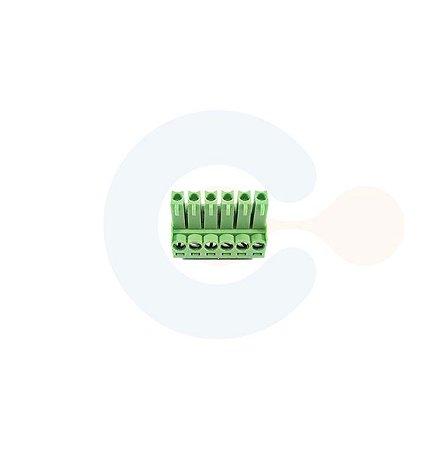 Conector Encaixe Fêmea p/ Cabo 3,5mm 90G Parafuso 6 vias Verde