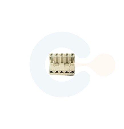 Conector Encaixe Fêmea p/ Cabo 5,08mm 90G Parafuso 5 vias Branco