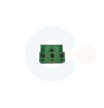 Conector Encaixe Fêmea p/ Cabo 7,62mm 90G Parafuso 3 vias Verde