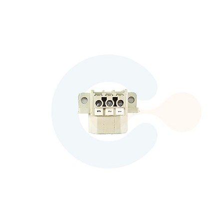 Conector Encaixe Macho p/ Cabo 7,00mm 180G com Flange 3 vias Branco