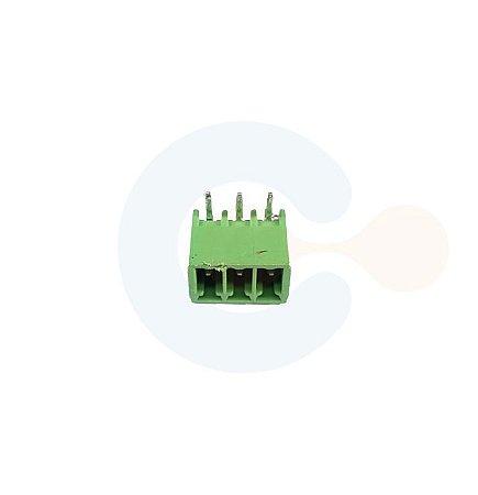 Conector Encaixe Macho p/ PCI 3,5mm Horizontal c/ laterais 3 vias Verde