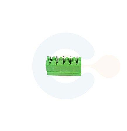 Conector Encaixe Macho p/ PCI 3,81mm Vertical c/ laterais 5 vias Verde