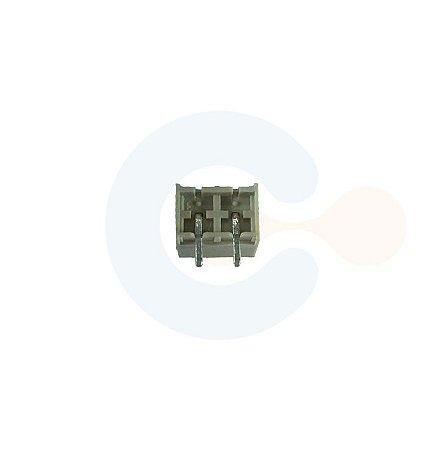 Conector Encaixe Macho p/ PCI 5,08mm Horizontal c/ laterais 2 vias Branco