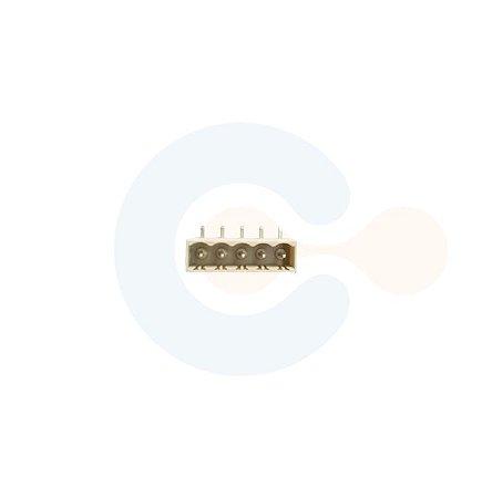Conector Encaixe Macho p/ PCI 5,08mm Horizontal c/ laterais 5 Vias Branco