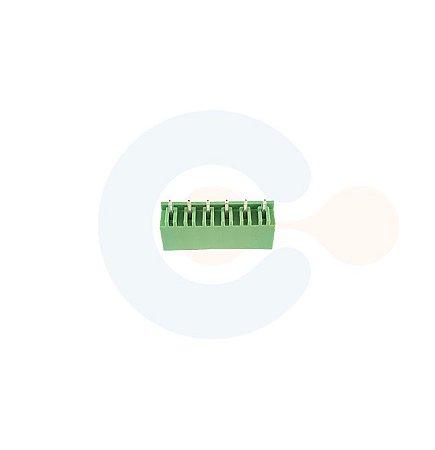 Conector Encaixe Macho p/ PCI 5,08mm Vertical c/ laterais 6 vias Verde