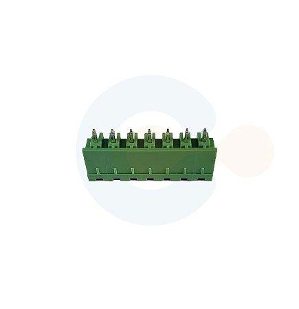 Conector Encaixe Macho p/ PCI 5,08mm Vertical c/ laterais 7 vias Verde