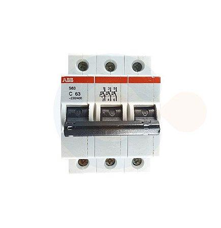 Mini Disjuntor 3P S63 Curva C 63A 3kA