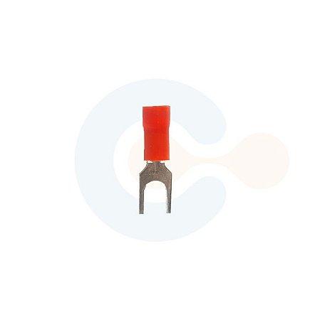 Terminal Forquilha p/ Cabo 1,5mm Furo M4 Vermelho