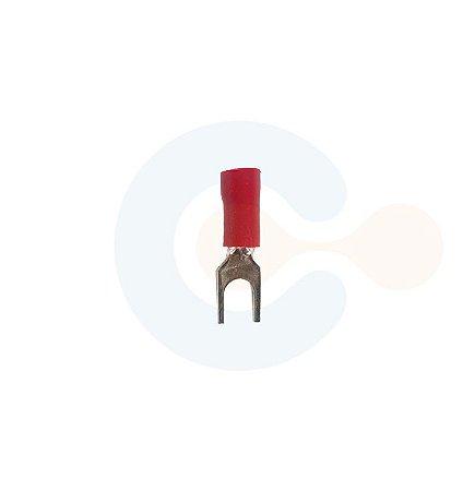 Terminal Forquilha p/ Cabo 1,5mm Furo M5 Vermelho
