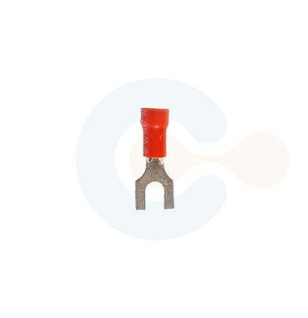 Terminal Forquilha p/ Cabo 1,5mm Furo M6 Vermelho